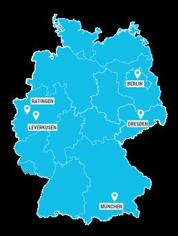 Standorte der Tropper Data Service AG aus Leverkusen Digitales Dokumenten-Management deutschlandweit